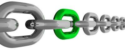 与被隔绝的绿色元素的金属链式线 库存照片
