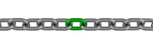 与被隔绝的绿色元素的金属链式线 库存图片