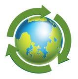 与被隔绝的绿色箭头的地球地球 库存图片