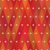与被集中的小点的菱形红色无缝的样式 包装纸的反复背景 模板 免版税库存图片