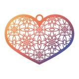 与被雕刻的透雕细工样式的钢板蜡纸有花边的心脏 的模板 皇族释放例证