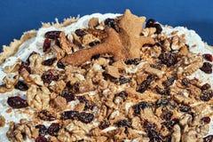 与被鞭打的奶油、坚果和果子的馅饼 免版税图库摄影