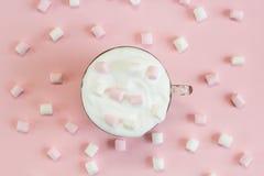 与被鞭打的奶油和蛋白软糖的顶视图热巧克力 库存图片