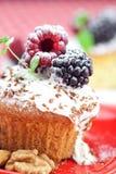 与被鞭打的奶油和蛋糕的松饼与结冰 库存照片