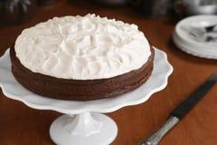 与被鞭打的蛋白甜饼顶部的Flourless巧克力蛋糕 免版税库存图片
