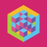 与被题写的立方体的六角形形状 向量 免版税图库摄影