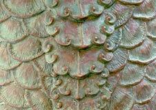 与被风化的古色纹理的扇贝设计 免版税库存照片