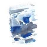 与被绘的污点和冲程的抽象水彩纹理 精美艺术性的背景 靛蓝和灰色颜色 免版税库存图片