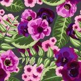 与被绘的花的无缝的葡萄酒样式 免版税库存图片