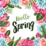与被绘的花的春天卡片 免版税图库摄影