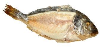 与被暴露的骨肉的煮熟的鱼 图库摄影