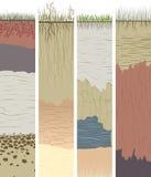 与裁减的集合垂直的横幅土壤专栏(外形) 免版税库存照片