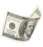 与裁减路线的一百张美元钞票 免版税库存图片