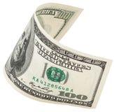 与裁减路线的一百张美元钞票 库存照片