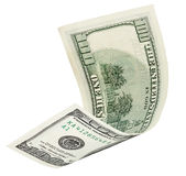与裁减路线的一百美元钞票 库存照片