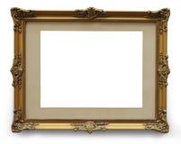 与裁减路线的古色古香的金黄画框 免版税库存照片