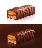 与裁减路线的巧克力块 库存图片