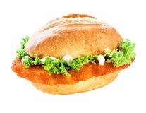 与裁减路线的炸肉排或一片无骨的肉小圆面包 库存照片