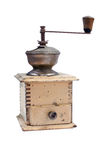 与裁减路线的老磨咖啡器 库存照片