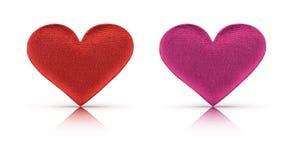 与裁减路线的织品红色和桃红色心脏 免版税库存图片