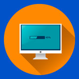 与装载过程平的象的计算机显示器 库存例证