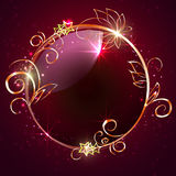 与装饰元素的圆的框架 免版税库存图片