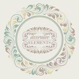 与装饰元素的花卉框架 免版税库存照片