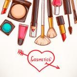 与装饰化妆用品的背景 免版税库存图片
