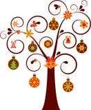 与装饰品例证的被隔绝的非传统的圣诞树 库存图片