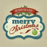 与装饰品和丝带的圣诞快乐框架 库存图片