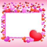 与装饰品和心脏的情人节美好的背景。 免版税库存图片