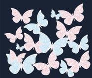 与装饰品样式的五颜六色的蝴蝶 免版税库存照片