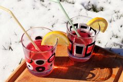 与装饰品的一块小玻璃 在杯子有汁液用伏特加酒和秸杆 免版税库存图片