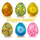 与装饰品的复活节乌克兰鸡蛋 集合复活节快乐 免版税库存照片