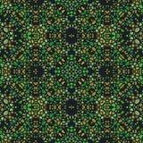 与装饰品的绿色黑暗的无缝的万花筒纹理 皇族释放例证