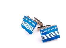 与装饰品的蓝色链扣 免版税库存图片
