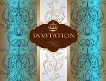 与装饰品的邀请卡片在蓝色颜色 库存照片
