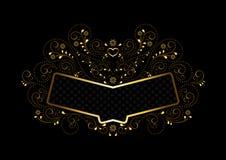与装饰品的金框架在金子透雕细工花卉构筑 免版税库存图片