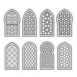 与装饰品-磨碎蔓藤花纹的阿拉伯窗口 库存例证
