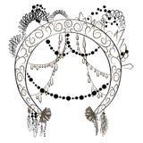与装饰对象花羽毛金刚石和链子的圆的框架 库存例证