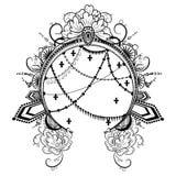 与装饰对象花金刚石和链子的圆的框架 皇族释放例证