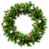 与装饰小珠和球的圣诞节花圈 库存照片