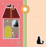 与装饰房子和猫的明信片 皇族释放例证