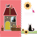 与装饰房子和猫的明信片 库存例证