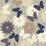 与装饰春黄菊花和butterfli的无缝的样式 库存图片
