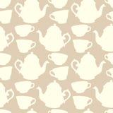 与装饰杯子和茶壶的无缝的样式 库存图片