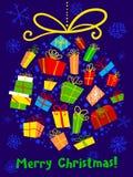 与装饰球的圣诞卡 冬天季节性招呼的po 库存照片
