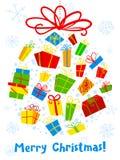 与装饰球的圣诞卡 季节性的冬天 免版税库存图片