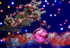 与装饰球的圣诞树分支 红色和银色诗歌选 免版税库存照片