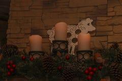 与装饰的三个蜡烛 免版税库存图片